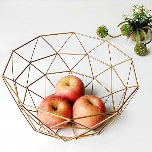 Alambre de Metal Decorativo Almacenaje/Pantalla Cesta Frutero Nórdico Estilo Cesta de Frutas Fruta Estante Vegetal Mesa Comedor Decoración - Oro, l