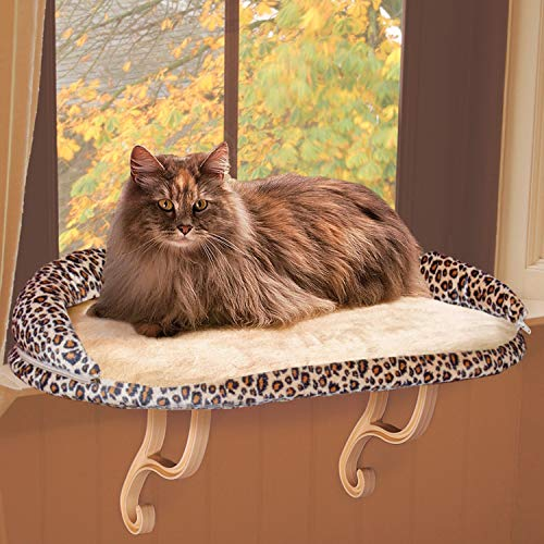 K&H Pet Products Deluxe Kitty Sill with Removable Bolster Tan/Leopard Print Unheated - 14 X 24 Inches
