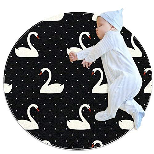 Felpudo para interiores y exteriores, diseño de lunares, diseño de cisne, antideslizante, lavable a máquina, redonda, 99,4 cm