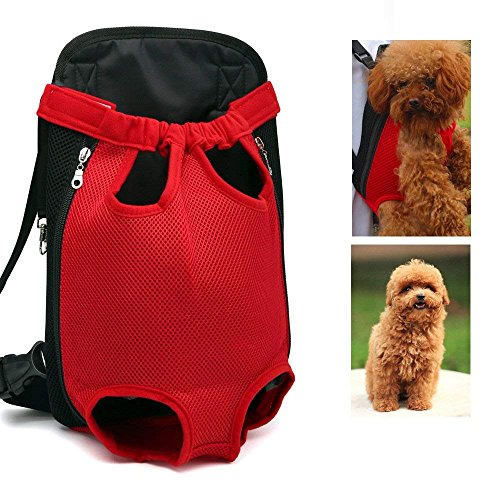 LEMONPET Dog Front Carrier Bag Adjustable, Legs Out, Pet Cat Dog Carrier Backpack for Walking, Traveling, Hiking, Camping, Bike and Motorcycle (Small, Red)