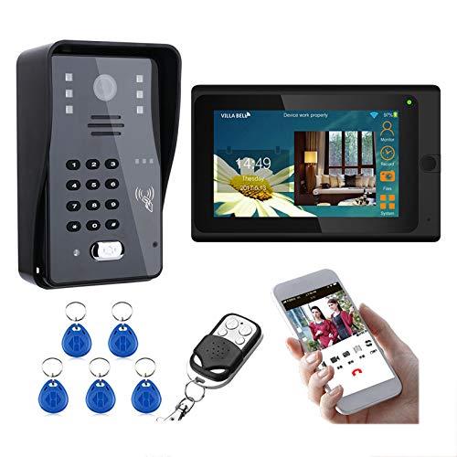 Wifi Videoportero, puerta de acceso RFID Kit de intercomunicación, 7 Monitores pulgadas + cámara de visión nocturna, contraseña de control remoto APP desbloqueo