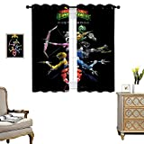 DRAGON VINES Curtain Powerful Power Rangers Comic Series Thermal Insulated Blackout Curtains Set of 2 Panels W72 x L84