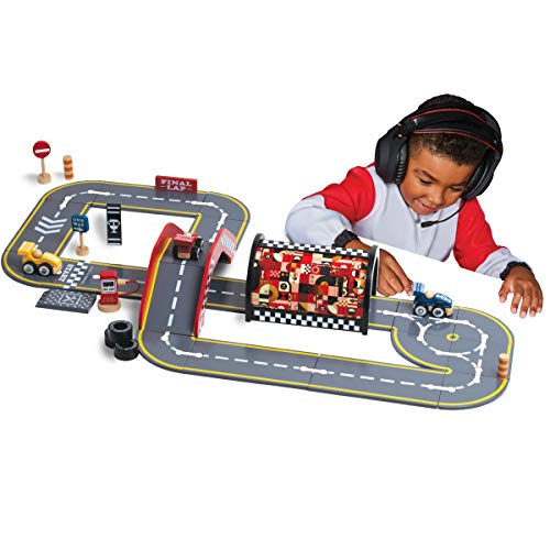 FAO Schwarz 60-Piece Wood Race Track Set with Case, Create Your Own Circuit Track Kit, Build Tunnels, Bridges & Highways, Best Gift Idea for Boys Girls Kids Ages 3+
