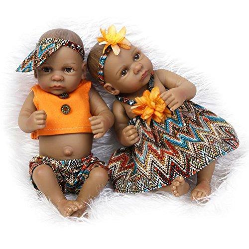 """MineeQu Mini 11 """"Black Couple Alive Reborn Baby Dolls Gemelli afroamericani a corpo intero in silicone"""