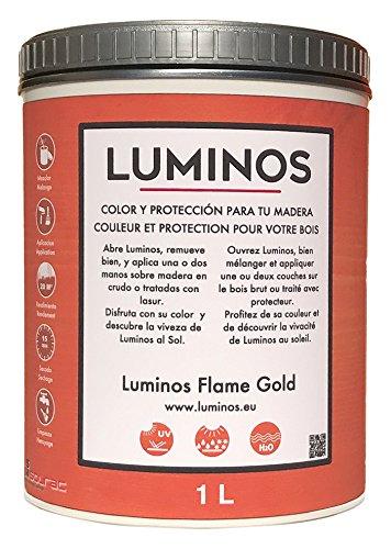 Luminos LUM1111 - FLAME GOLD - Lasur Bio al Agua Protector Para Madera Exterior - Naranja Oro 1L