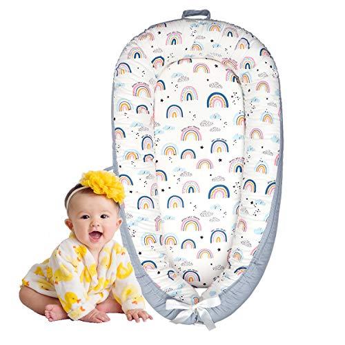 Cama Nido de Bebé,Reductor de Cuna Nidos para Bebe,Algodón Nido Bebé Recién Nacido Suave y Transpirable,90 * 50cm (Arco Iris)