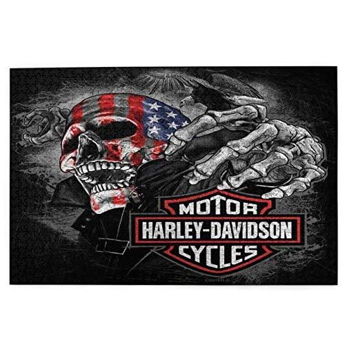 Harley Davidson   Puzzle de 1000 piezas, diseño de paisaje natural en blanco y negro