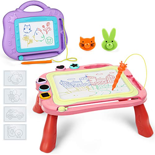 WETONG Kids Toys 3 Year Olds - 2 Pack Magnetic Drawing Board for 3-8 Year Olds Kids Drawing Board Girls Toys Boys Toys 4 Colors Magnetic Doodle Board Learning Toy Gift for Kids