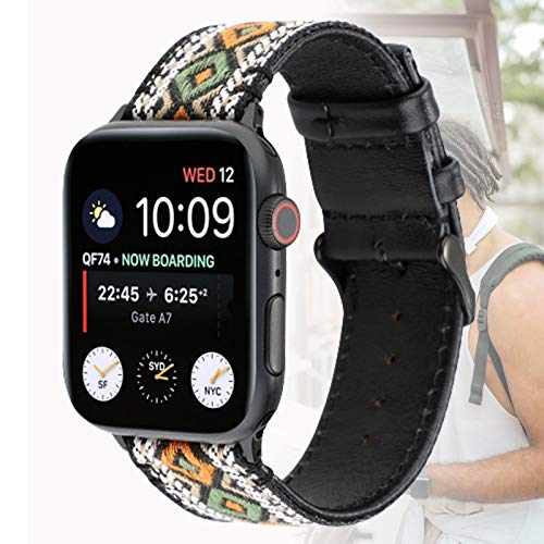 Correa De Repuesto Compatible con Apple Watch Strap 44mm 42mm, Correa De Repuesto De Cuero Genuino para Apple Watch SE/Iwatch Series 6/5/4/3/2/1,44mm
