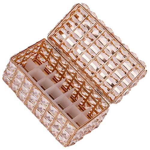 Cabilock Kristallen Sieraden Doos Lippenstift Houder Lipgloss Organisator Trinket Organizer Box Cosmetische Vitrine (Goud)