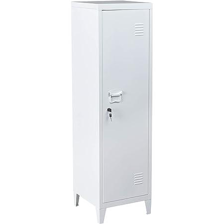 FURNITURE-R France Armoire vestiaire métallique à casiers verrouillables en métal, Porte avec Fermeture à clé, 3 Compartiments intérieurs, Dimensions 38,5 x 38,5 x 138 cm, Blanc