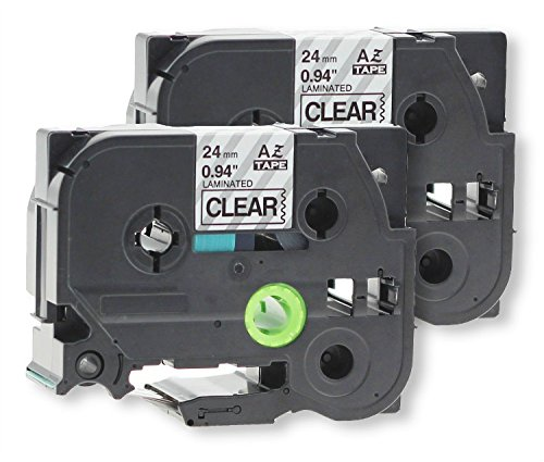 """2 Pack Replacement 24mm 1 Inch(0.94"""") TZe151 TZ151 Laminated Black on Clear for P-Touch Label Maker PT-D600 PT-P700 PT-P900W PT-P950NW,26.2ft(8m) Length"""