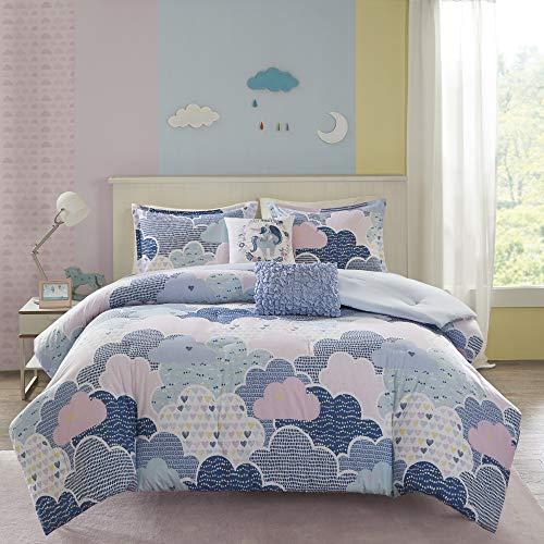 Urban Habitat - Juego de funda de edredón para niños, diseño de unicornio, divertido y juguetón, para todas las estaciones, funda de edredón a juego, almohada decorativa, ropa de cama para niños, decoración de dormitorio de niñas, Twin/Twin XL, azul 4 piezas