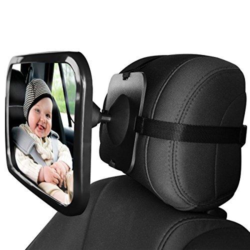 SONARIN Premium Quality Baby Car Mirror,  Espejos para asientos traseros, se adapta a cualquier reposacabezas ajustable, visión clara del bebé en el asiento trasero del automóvil, rotación de 360 °(Negro)