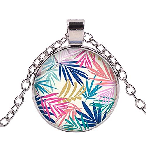 El más nuevo flamenco selva planta collar palmera hojas flores pájaro patrón creativo cristal colgante collar estilo hawaiano
