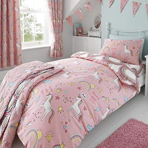 Happy Linen Company Girls Kids Unicorns Rainbows Pink Single Reversible Duvet Cover Bedding Set