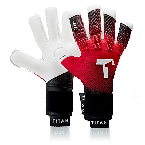 T1TAN Red Beast Torwarthandschuhe für Erwachsene, Fußballhandschuhe Herren Innennaht und 4mm Profi Grip - Gr. 12