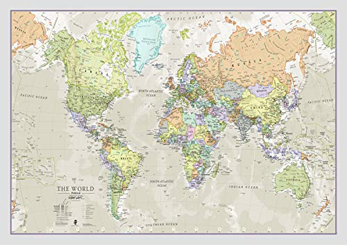 Maps International - Mappa del mondo di - Poster con mappa del mondo stile classico - Laminato – 84,1 cm (larghezza) x 59,4 cm (altezza)