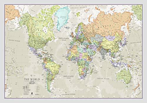 Maps International - Mapa del mundo, póster clásico con el mapa del mundo, plastificado – 84,1 x 59,4 cm – Colores clásicos