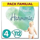Pampers Couches Harmonie Taille 4 (9-14kg) 0% de compromis, 100% d'absorption, Ingrédients d'origine végétale, Hypoallergéniques, 112 Couches (Pack Familial)