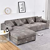 ASCV Funda de sofá de Envoltura Ajustada geométrica Funda de sofá elástica Necesita un Pedido Funda de sofá de 2 Piezas Si sofá de Esquina Estilo L A7 3 plazas