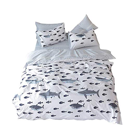 BuLuTu Ocean Whale Sharks Fish Print Bedding Duvet Cover Set Twin White/Grey 100 Percent Cotton Hypoallergenic Stripes Premium Kids Duvet Cover Twin Set for Boys Girls Zipper Closure,NO Comforter
