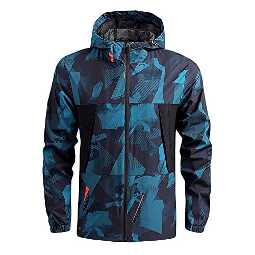 Chaqueta Hombres Casual Deportes Al Aire Libre Capa Impermeable Transpirable Primavera Delgada Hombres, azul, XL
