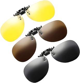 CLISPEED - Clip de 3 Piezas en Lente Polarizada Plegable para Gafas Graduadas Gafas de Sol de Protección Uv sobre Anteojos Rx