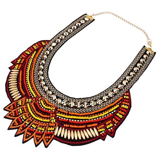 CHOUCHOU Halskette Ohrringe Schmuck Set Kette Ethnischen Stil Kaffee mehrere Hirse Perlen klobige Kette Bib Anweisung Choker Kragen Halskette for Frauen