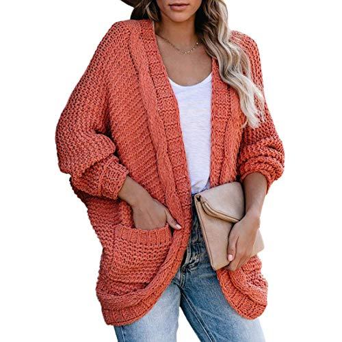 OEAK Damen Strickjacke Cardigan Grobstrick Langarm Lose Strickmantel mit Taschen Casual Open Front Sweater Cardigan Cover Up Outwear