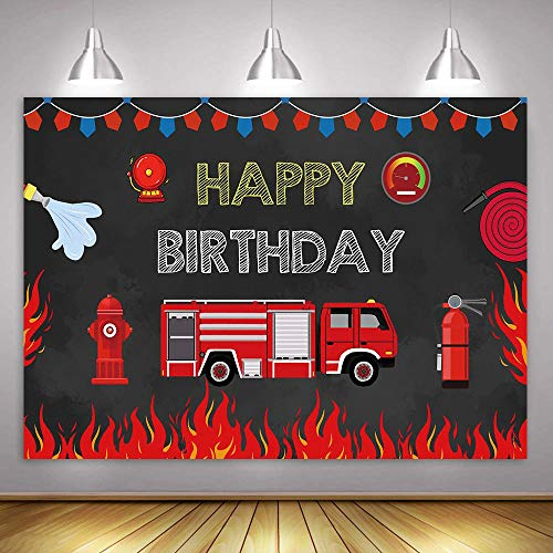 MME 7x5ft Fire Brigade Party Background Flame Rescue Fire Hydrant Fire Extinguisher Element Background Happy Birthday Celebration Background Props Banner Picture Child Birthday BJHXME318