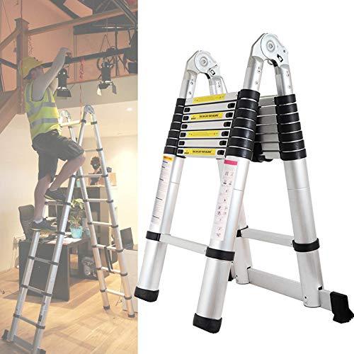 Bowoshen Telescopic Extension Ladder 16.5ft A-Frame Folding 16 Steps Sturdy Portable Kit 330lb Load Capacity