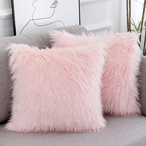 WLNUI Set of 2 Spring Decorative Pink Fluffy Pillow Covers New Luxury Series Merino Style Blush Faux Fur Throw Pillow Covers Square Fuzzy Cushion Case 18x18 Inch