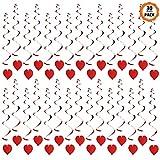 Dadabig 30 Pezzi Decorazioni Pendenti a Spirale Cuore Rosso Amore di Spirale per Appendere Addobbi a Cuore da Appendere per Carnevale Matrimoni San Valentino Festa