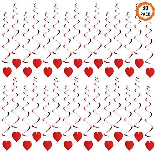Dadabig 30 Pcs Espirales Colgantes de Corazón Adornos de Fiesta de Corazón Guirnaldas de Decoraciones para Hogar Fiesta Boda Dia de San Valentin