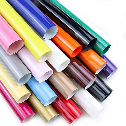 ARHIKY Heat Transfer Vinyl HTV Bundle: 20 Pack Assorted Colors 12x10 Sheets for DIY Iron On T-Shirts Fabrics