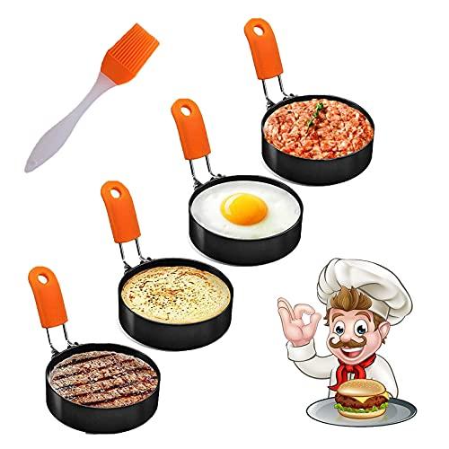 Eierring, Cozii 4er Pack Edelstahl Eierringformen mit Antihaft-Metallformkreisen für Spiegelei-McMuffin-Sandwiches, Braten oder Formen von Eiern, Frühstück Haushaltsküche Kochwerkzeug Omelett