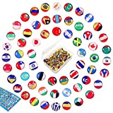100 Chinchetas de Mapa Pines de Empuje de Cabeza Pasadores decorativos Chinchetas de la bandera nacional Pasadores de mapas del país Pasadores de empuje lindos Punta de acero