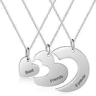 XiXi Personalizzato Collana Amicizia per 3 Collana con Nome in Argento Cuore Ciondolo BFF Collana Incisione per Donna Migl...