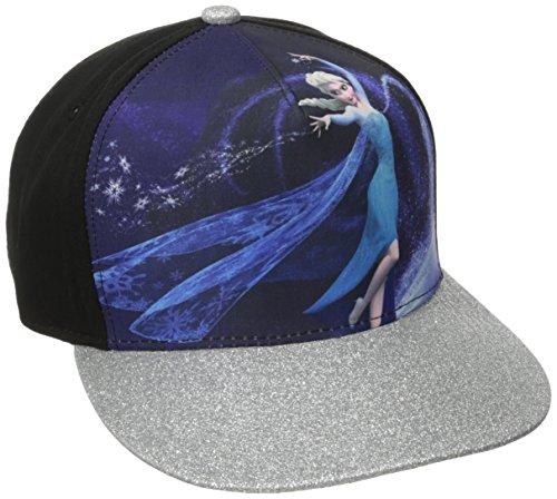 Concept One Disney's Frozen Elsa Let It Go Kids Adjustable Snapback Hat with Glitter Curved Brim Casquette de Baseball, Noir, Taille Unique Garçon