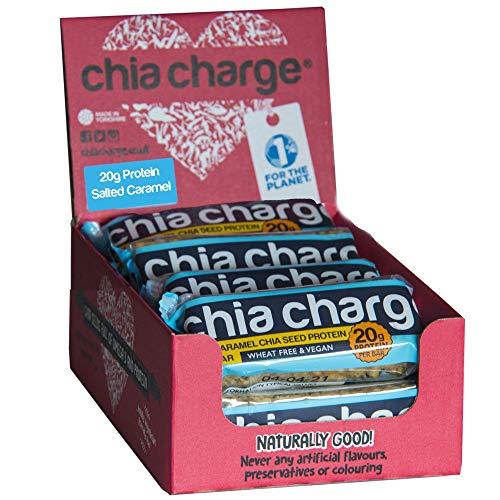 Chia Charge - 20g Proteino - Vegan Proteina Trinkejo - Arakido Butero - Sen tritiko - Sen Gluteno - Sen laktaĵoj - Alta proteino Snacks - 10 x 60g - Salita Karamelo ...