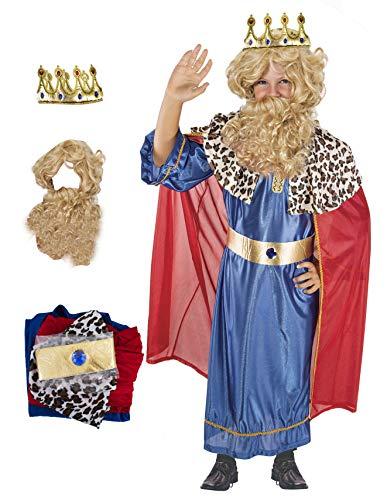 Gojoy shop- Disfraz de Rey Mago Baltasar, Caspar ó Melchor para Niños Navidad Carnaval (Contiene Túnica, Capa y Cinturón, 4 Tallas Diferentes) (Caspar, 5-6 años)
