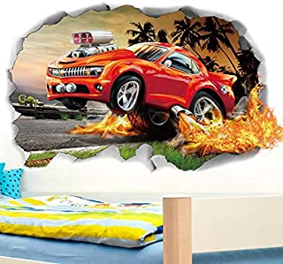 3D off-road car racing wall sticker living room bedroom F1 red racing stereo wallpaper children room wall sticker
