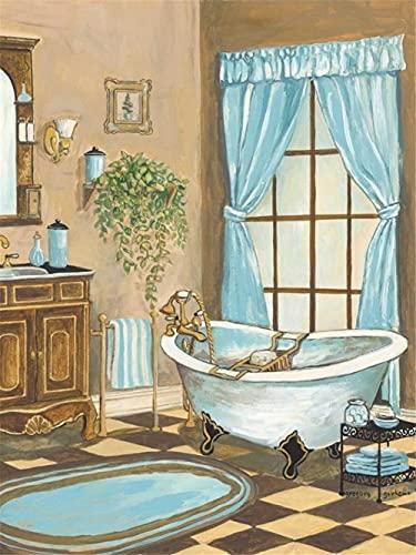Pintura de Diamante 5D completo Kit Perfumes de baño,DIY Diamond painting adulto/niño punto de cruz Crystal Rhinestone bordado art manualidades para decor de paredes regalos Round Drill,50x70cm