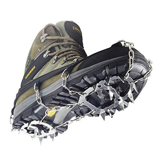 LANGTAO Cubierta Antideslizante de Zapatos, Puntos Pinzas Dentadas Crampones Escalada, Racos de Hielo Tracción Antideslizante, Antideslizante Raquetas de Nieve