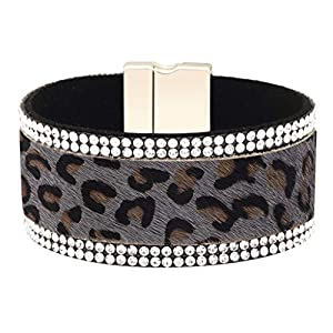 Charm Bracelet Women Leopard Leather Bracelet Bangles Jewelry Accessories Valentine's Day Gifts Under 5 Dollars for Lovers