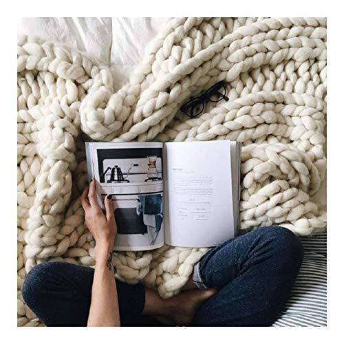 Gebreide deken werft Chunky, reuzehandmade super-blokkerend zacht warm vlechttapijt om te knuffelen in bed op de bank of bank A