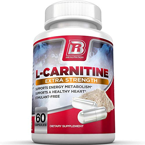 BRI L-Carnitine - 1000mg Premium Quality Carnitine Amino Acid Supports Athletic Performance, Stamina and Heart Health; Stimulant Free Vegetable Cellulose Capsules (60 Count)