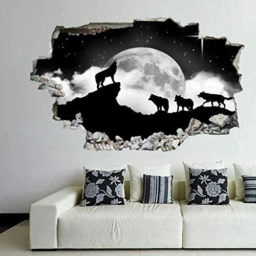 Wandtattoo 3D Wolf Moon Star Wandaufkleber Kunst Wandaufkleber Wandaufkleber Kinderzimmer nach Hause