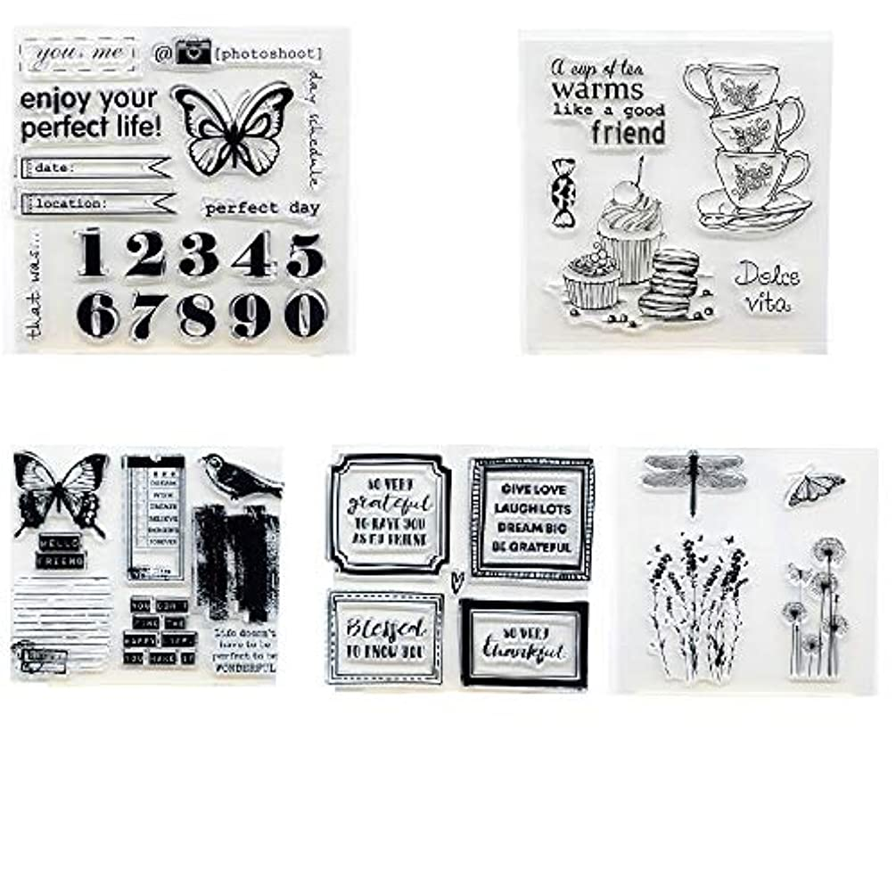 Welcome to Joyful Home 5pcs/Set Butterfly Plant Sentiment Warm Coffee Rubber Clear Stamp for Card Making Decoration and Scrapbooking